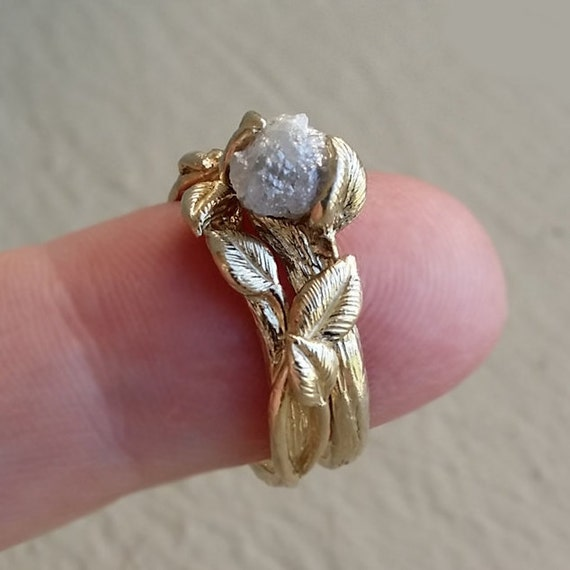 Twig & Leaf Engagement Ring 14K Yellow Gold Raw Uncut White