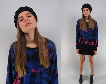 On Sale - Vintage 80s Floral Sweater Dress, Mini Sweater Dress, Sweater, Oversized Sweater Dress Δ size: xs / sm