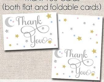 Twinkle Twinkle Thank You Card - Gender Neutral - Instant Download - Baby Shower Thank You - Birthday - Baby Sprinkle  - Printable Card
