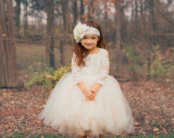 long sleeve lace tutu dress, ivory lace flower girl dress with long sleeves
