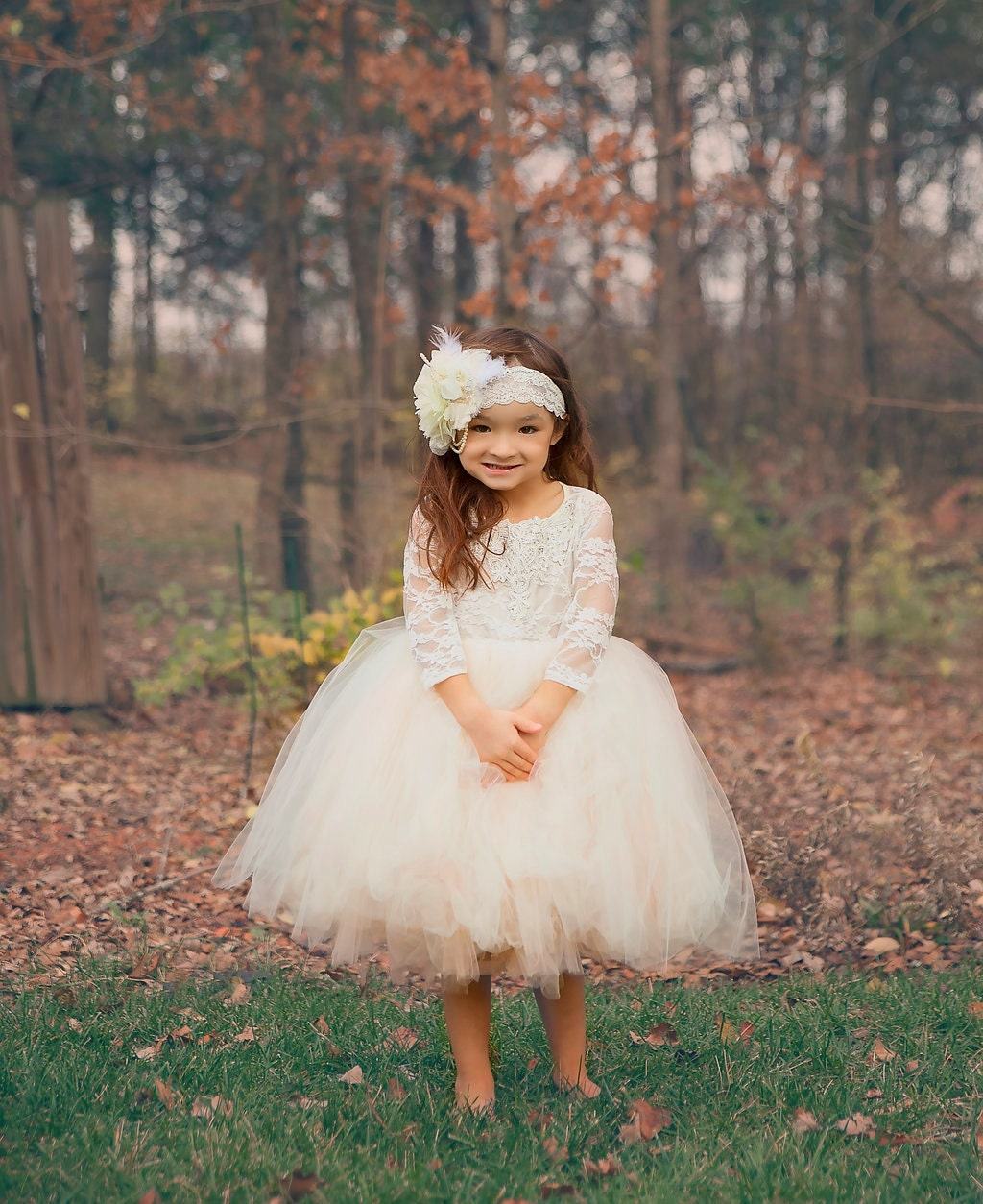 long sleeve lace tutu dress ivory lace flower girl dress with
