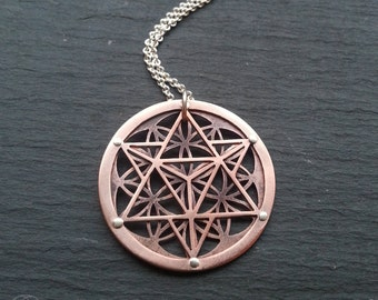 Star Tetrahedron and Flower of Life Pendant - oxidised copper - Handcrafted Sacred Geometry Jewellery