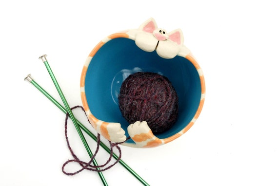 Ginger Tabby Cat Shaped Ceramic Yarn Bowl with turquoise blue insides