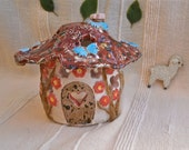 Fairy House tealight holder with red roof and blue butterflies -  handbuilt colorful ceramic votive holder - Candle luminary - New home gift