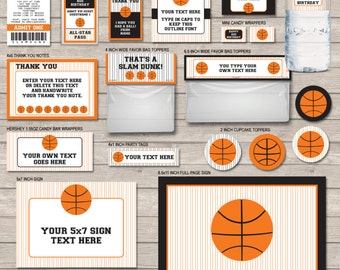 Basketball Printables, Invitations & Decorations - Full Package - Orange Black - INSTANT DOWNLOAD with EDITABLE text - personalize at home