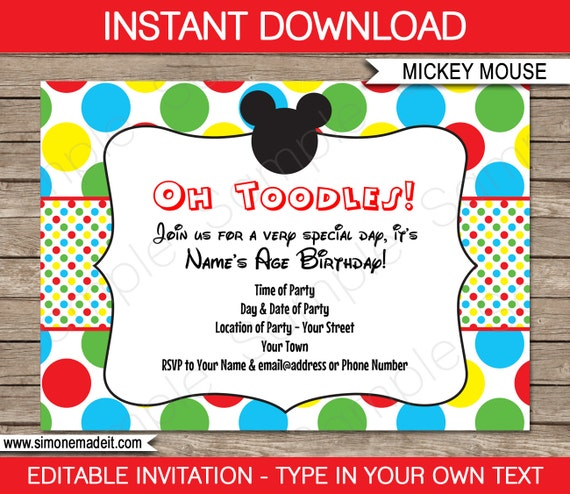 Crazy image in free printable mickey mouse invitations