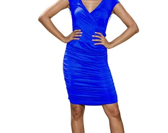 wrap dress, jersey dress, ruched dress, wiggle dress, pencil dress, blue dress