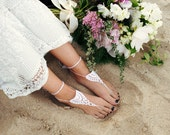 Lace Bridal Jewelry- Boho Sandals- Bridal Barefoot Sandals- Footless Sandals- Beach Wedding Sandals- Foot Jewelry- Sandles- Barefoot Wedding