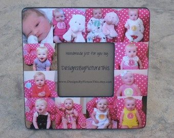 "Personalized Baby's First Year Frame, Baby Collage Picture Frame, Unique Custom Family Photo Frame, Unique Father's Day Gift, 8"" x 8"" Frame"