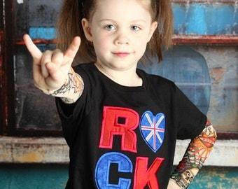 UK Rock Union Jack British Flag Embroidered Tattoo Sleeve Shirt