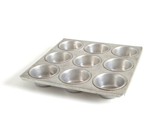 Aluminum Mini Muffin Tin 9 Cupcake Pan Vintage Food Photography Prop Square