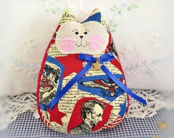 "Patriotic Cat Doll 6""  Free Standing Kitty, U.S.A. Americana Red White Blue Ivory, Cat Doll, Soft Doll Handmade CharlotteStyle Decorative"