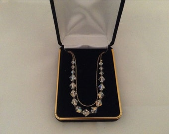 Vintage Crystal Aurora Borealis Beads Crystals Necklace
