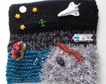 Sci-fi travel play mat, hand knit, roll up for easy travel, great for plane tray tables & laps for long road trip, vacation, restaurant