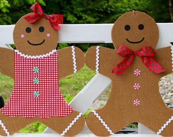Christmas Wreath - Gingerbread Boy Door Hanging - Holiday Wreath