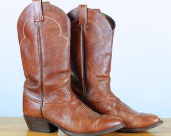 Vintage 1980's Tony Lama Black Label Brown Leather Cowboy Western Boots 9.5D