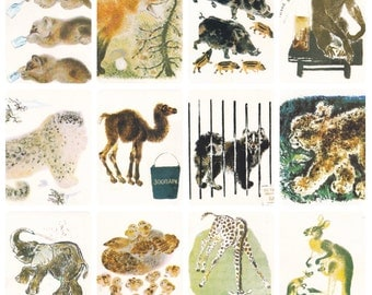 Evgeny Charushin -- Birds and Animals. Complete Set of 16 Prints, Postcards in original cover -- 1989