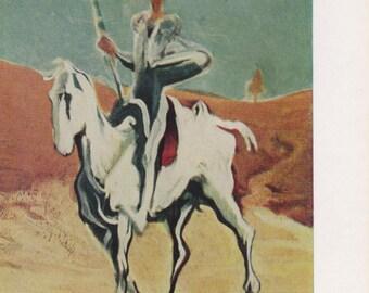 """Vintage Hungarian Postcard, Daumier """"Don Quixote"""" -- 1960s"""