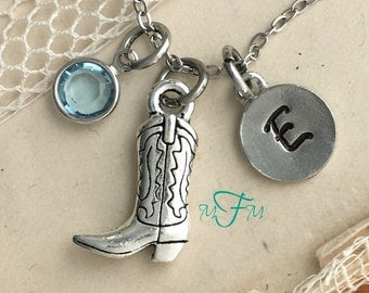 Western Boot Charm Necklace, Personalized Necklace, Silver Pewter Cowboy boot Charm, Custom Necklace, Swarovski Crystal birthstone, monogram