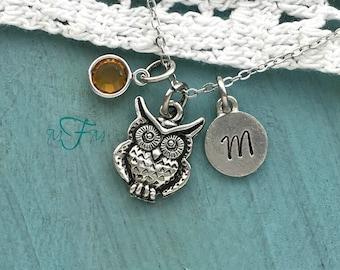 Owl Charm Necklace, Personalized Necklace, Silver Pewter Owl Charm, Custom Necklace, Swarovski Crystal birthstone, monogram