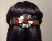 Large  Barrette For Thick Hair/  Red and Gold/One of a Kind
