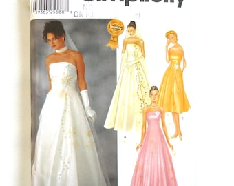 Simplicity 7068 sewing pattern, sizes 14-20, UNCUT, wedding dress, evening wear, formal, prom, cocktail, gown, dance, full skirt, strapless