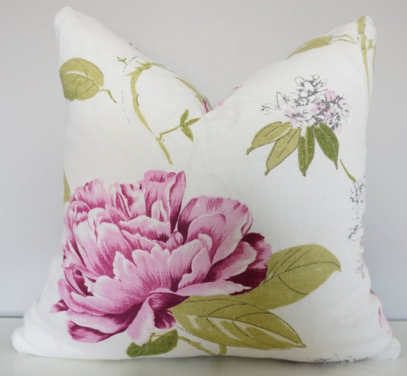 Pink Floral Decorative Pillows : Pink Flower Pillow Linen Decorative Pillows Keira/White