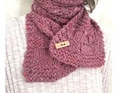 Hand Knit Dark Rose Pink Winter Scarf - Ladies Knitted Handmade Accessory