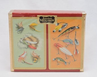 Vintage 1960's Duratone Fishing Lure & Fishing Fly Playing Cards - Sealed Double Deck