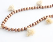 Tassel Necklace, Oatmeal and Natural Beaded Tassel Necklace, Neutral Necklace, Neutral Tassel, Wood Bead Tassel Necklace, Tassel Jewelry