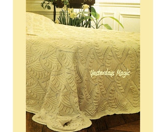 Instant Download PDF Knitting Pattern to make an Heirloom Patchwork Cotton Double Bedspread Bed Cover Scalloped Motif Embossed Leaves