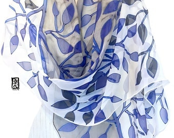 Hand Painted Silk Shawl, ETSY, Royal Blue and Black Leaves Scarf, Japanese Silk Scarf, Silk Scarves Takuyo, Made in the USA, 22x90 inches