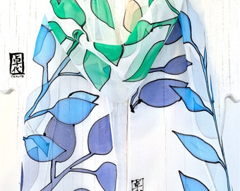 Small Silk Scarf Hand Painted, Gift for her, Birthday Gift, Silk Scarf Blue, Blue Lagoon Leaves Scarf, Silk Chiffon Scarf, 8x52 inches,