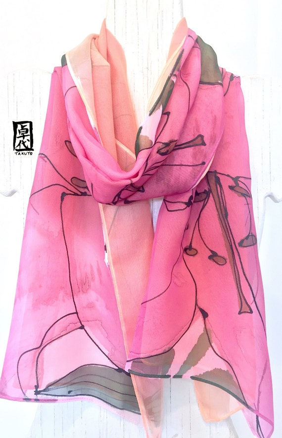 Pink Silk Scarf Hand Painted, ETSY, Reversible Scarf, Pink Silk Scarf, Double Layered Pink and Orange Lilies Scarf, 11x60 inches
