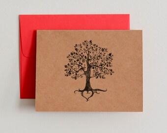DIY Printable Kraft Paper Notecards / Rustic Tree / Blank Inside