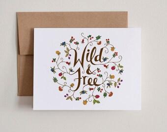 DIY Printable Notecards / Wild & Free / Blank Inside