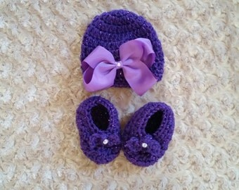 Crochet Baby Hat and Booties Set With Hair Bow Accessory 0-6 Months FREE SHIPPING Ready to Ship
