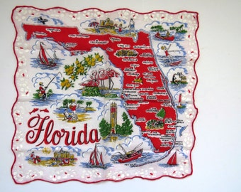 Vintage FLORIDA State Souvenir Handkerchief Hanky Hankie - Pre-Disney - Florida Map - Major Cities Flamingos Palm Trees Collectible Gift