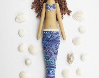 Mermaid doll handmade fabric doll blue lilac softie plush cloth doll lovely rag doll brunette mermaid gift for girl and mom