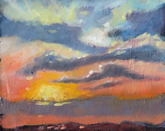 "Small Oil Painting. Sunrise. 6"" x 6"" Atmospheric Landscape ."