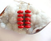 Coral Earrings, Red Coral Earrings, Red and Silver Earrings, Red Earrings, Gemstone Earrings ,Beaded Earring, Gemsalad