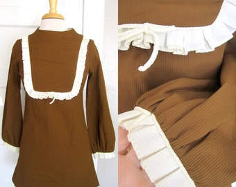 60s Mini Dress // Brown Ruffle Mod Boho Hippy Frock