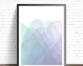 Mountain Print. Modern Art print. Abstract Mountains. Abstract watercolor print. Modern home decor wall poters. Living room wall art