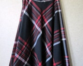 Plaid Skirt black red bias skirt wool blend bias cut circle skirt preppy hipster vintage 70s Russ womens small medium Anthropologie style