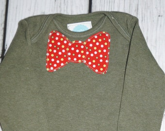 6M Olive Green Bodysuit: Red Polka Dots