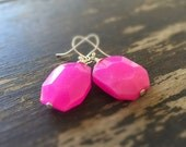 Hot Pink Earrings - Sterling Silver Jewelry - Jade Gemstone Jewellery - Trendy - Chunky