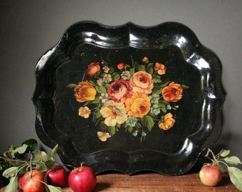 Black toleware serving tray, hand painted toleware.
