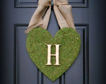 Valentines Day Wreath.  Heart Wreath.  Moss Covered Heart with XL Rustic Burlap Bow and Woodfired Monogram Letter.