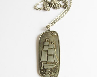 Jorgen Jensen Pewter Modernist Necklace / Nautical Necklace / Ship / Signed