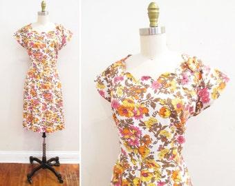 Vintage 1950s Dress | Colorful Floral Print Rhinestone 1950s Party Dress | size large - xl